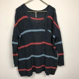 Free People Striped Oversized Knit Sweater Size M